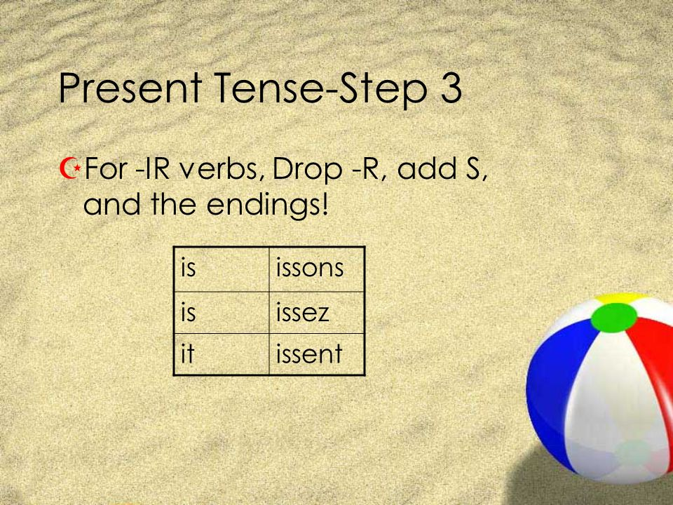 Present Tense-Step 3 For -IR verbs, Drop -R, add S, and the endings!