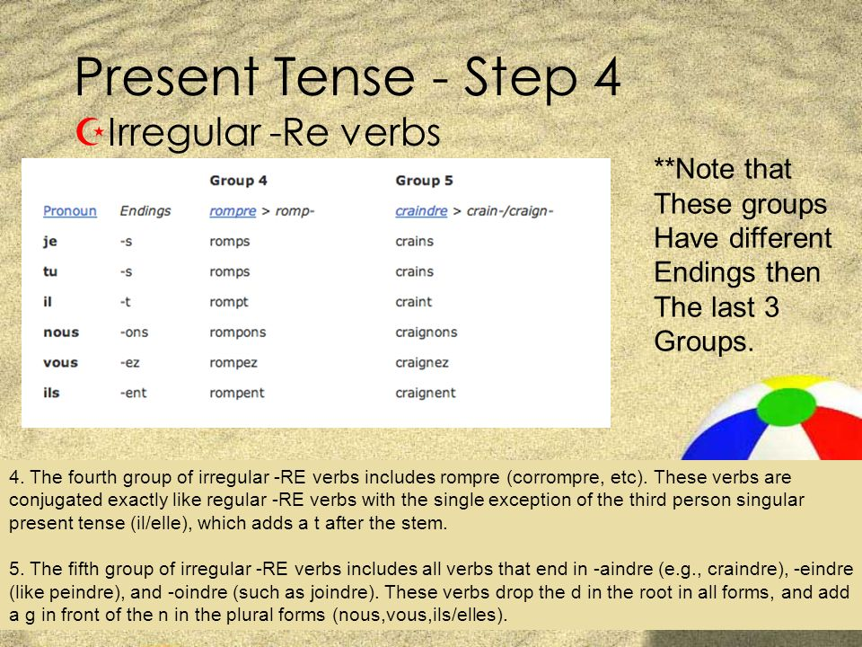 Present Tense - Step 4 Irregular -Re verbs **Note that These groups