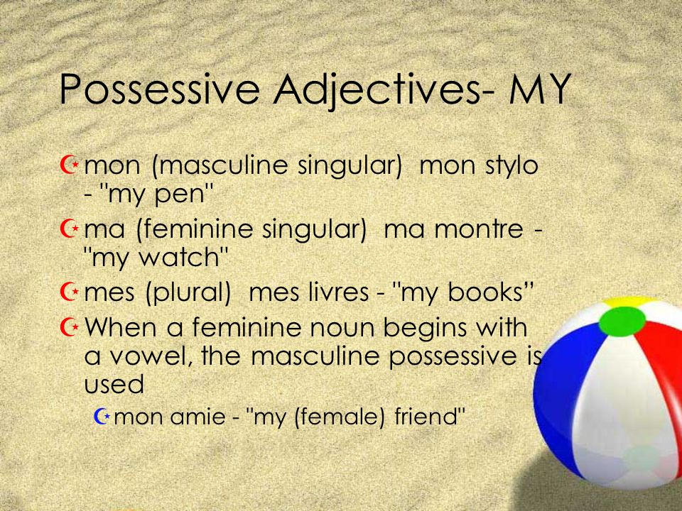 Possessive Adjectives- MY