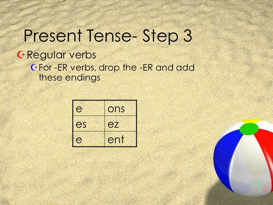 Present Tense- Step 3 Regular verbs e ons es ez ent