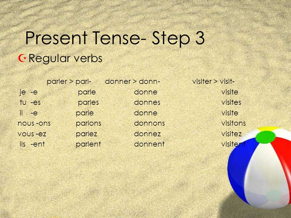 Present Tense- Step 3 Regular verbs