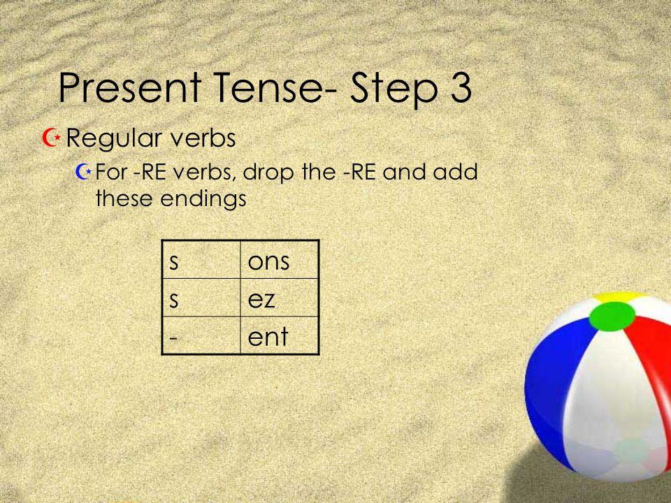 Present Tense- Step 3 Regular verbs s ons ez - ent