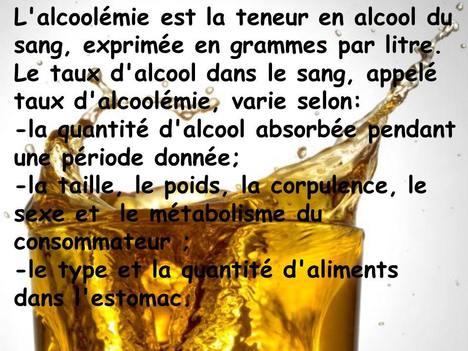 L alcoolémie est la teneur en alcool du sang, exprimée en grammes par litre. Le taux d alcool dans le sang, appelé taux d alcoolémie, varie selon: