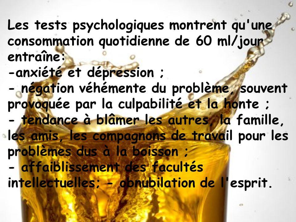Les tests psychologiques montrent qu une consommation quotidienne de 60 ml/jour entraîne: