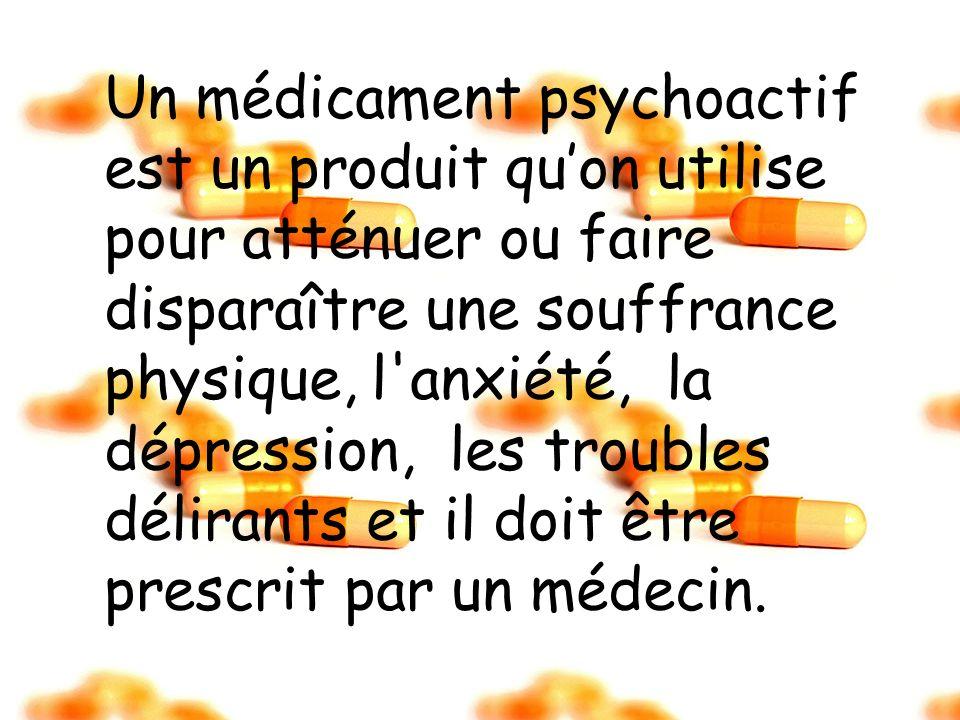 Un médicament psychoactif est un produit qu'on utilise pour atténuer ou faire disparaître une souffrance physique, l anxiété, la dépression, les troubles délirants et il doit être prescrit par un médecin.