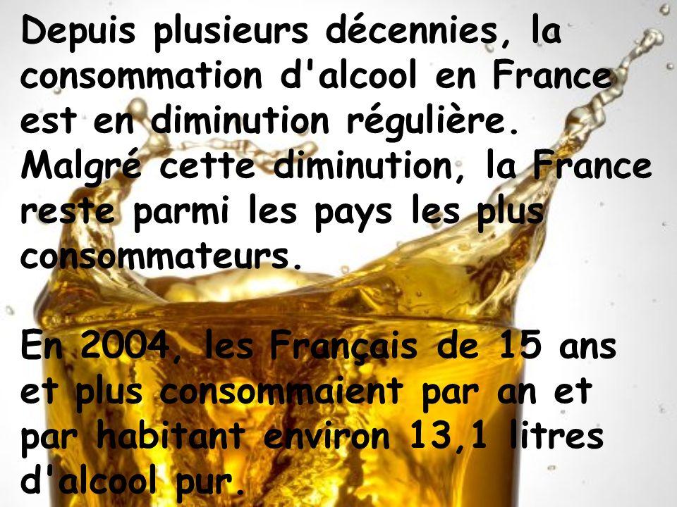 Depuis plusieurs décennies, la consommation d alcool en France est en diminution régulière. Malgré cette diminution, la France reste parmi les pays les plus consommateurs.