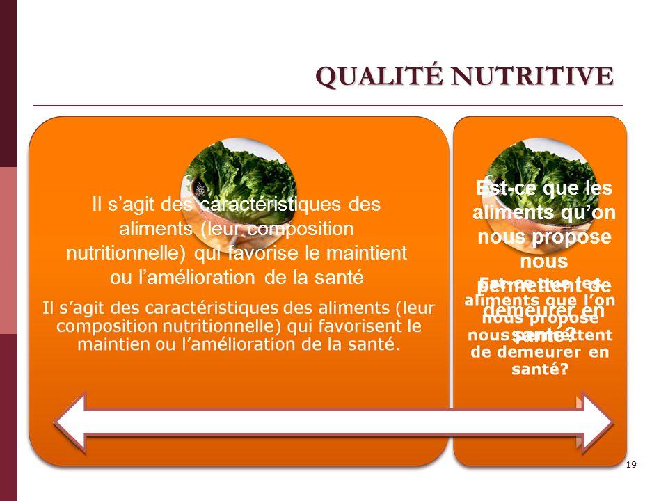 QUALITÉ NUTRITIVE Est-ce que les aliments qu'on nous propose nous permettent de demeurer en santé