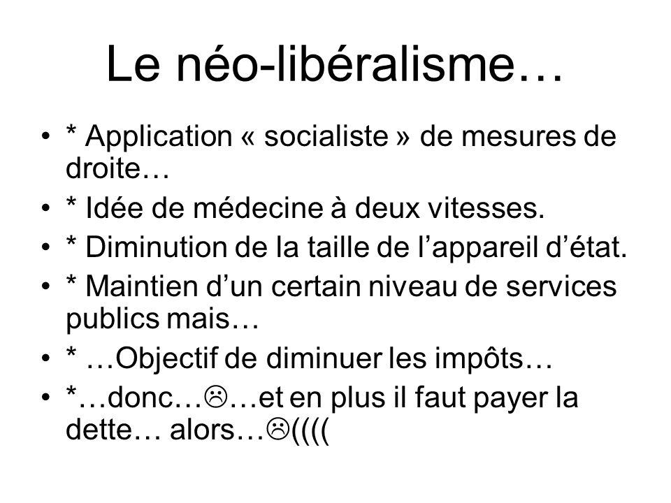 Le néo-libéralisme… * Application « socialiste » de mesures de droite…