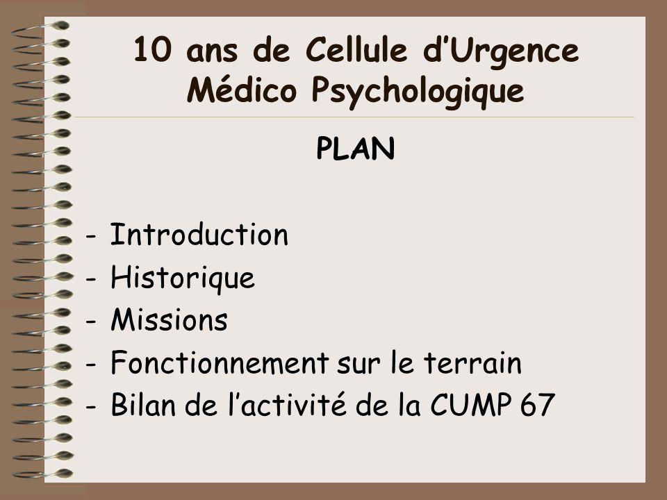 10 ans de Cellule d'Urgence Médico Psychologique