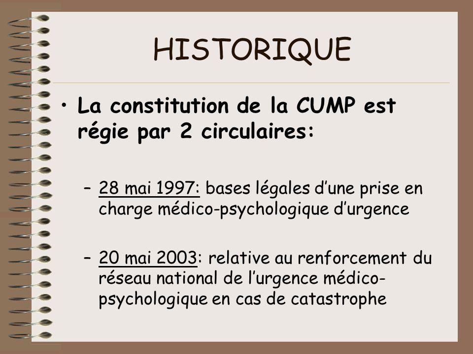 HISTORIQUE La constitution de la CUMP est régie par 2 circulaires: