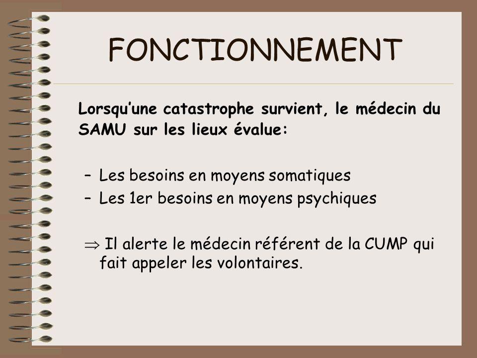 FONCTIONNEMENT Lorsqu'une catastrophe survient, le médecin du SAMU sur les lieux évalue: Les besoins en moyens somatiques.