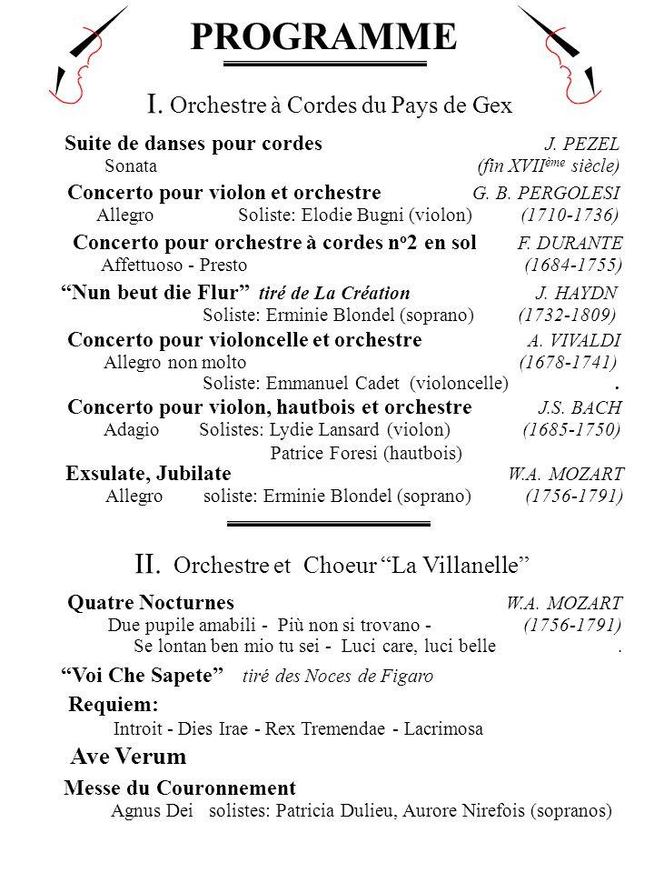PROGRAMME I. Orchestre à Cordes du Pays de Gex