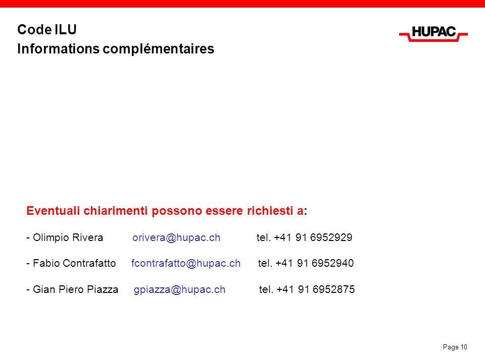 Code ILU Informations complémentaires