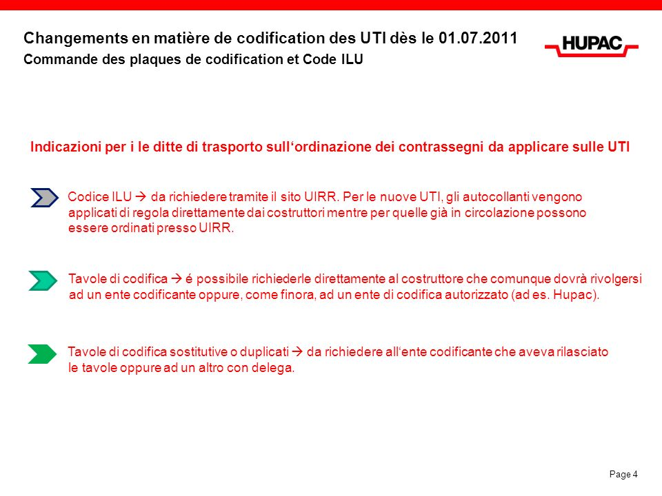 Changements en matière de codification des UTI dès le 01. 07