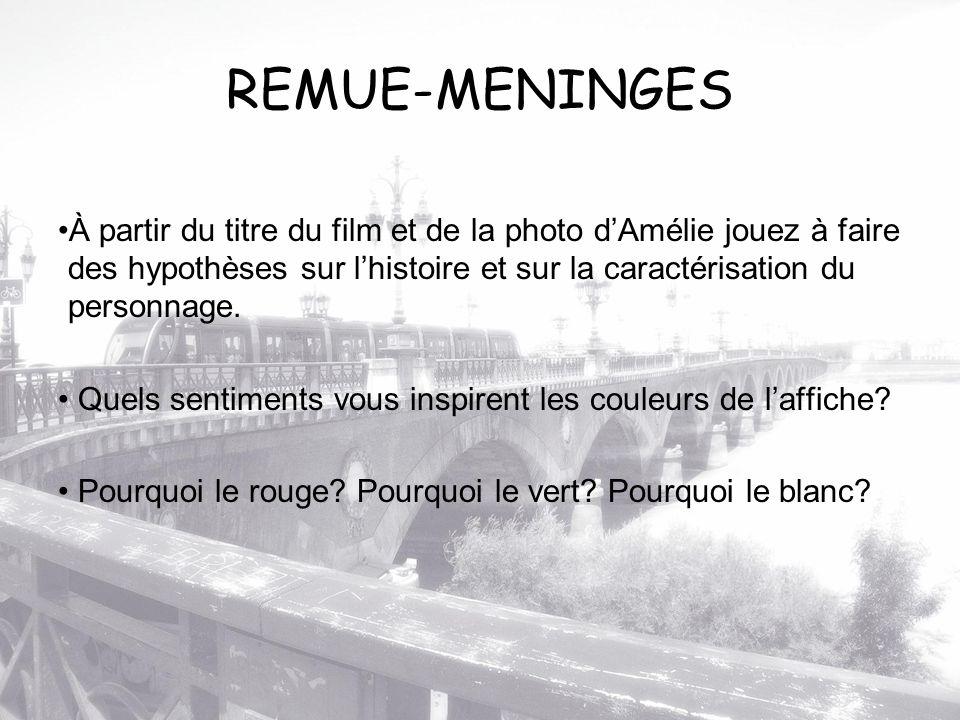 REMUE-MENINGES À partir du titre du film et de la photo d'Amélie jouez à faire des hypothèses sur l'histoire et sur la caractérisation du personnage.