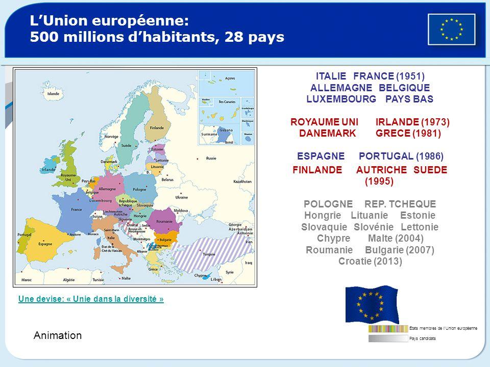 L'Union européenne: 500 millions d'habitants, 28 pays