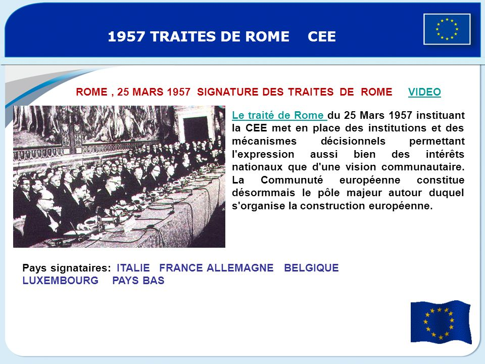 15/12/2011 1957 TRAITES DE ROME CEE. ROME , 25 MARS 1957 SIGNATURE DES TRAITES DE ROME VIDEO.