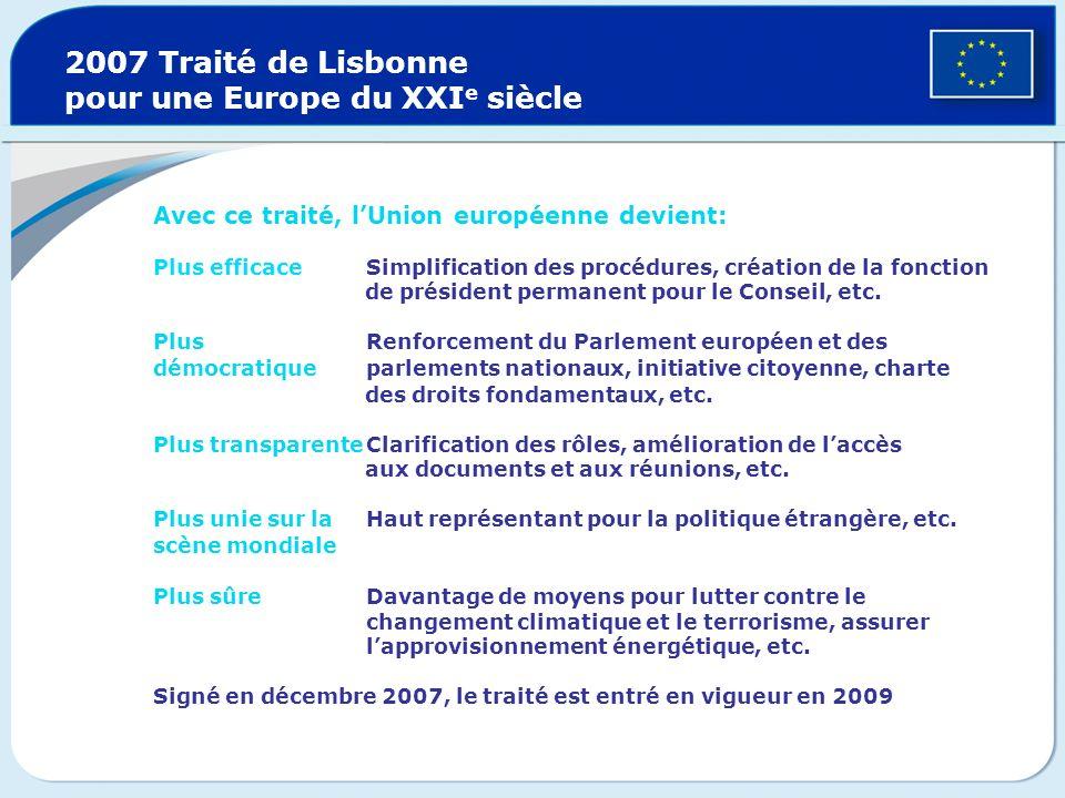 2007 Traité de Lisbonne pour une Europe du XXIe siècle