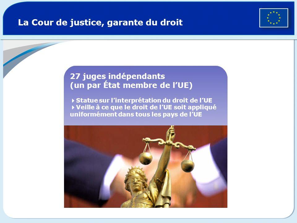 La Cour de justice, garante du droit