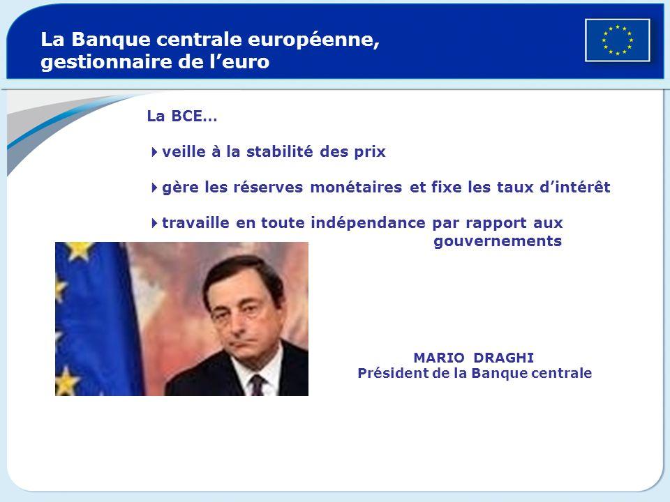 MARIO DRAGHI Président de la Banque centrale