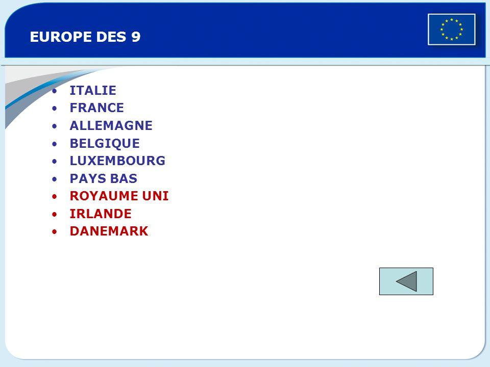 EUROPE DES 9 ITALIE FRANCE ALLEMAGNE BELGIQUE LUXEMBOURG PAYS BAS