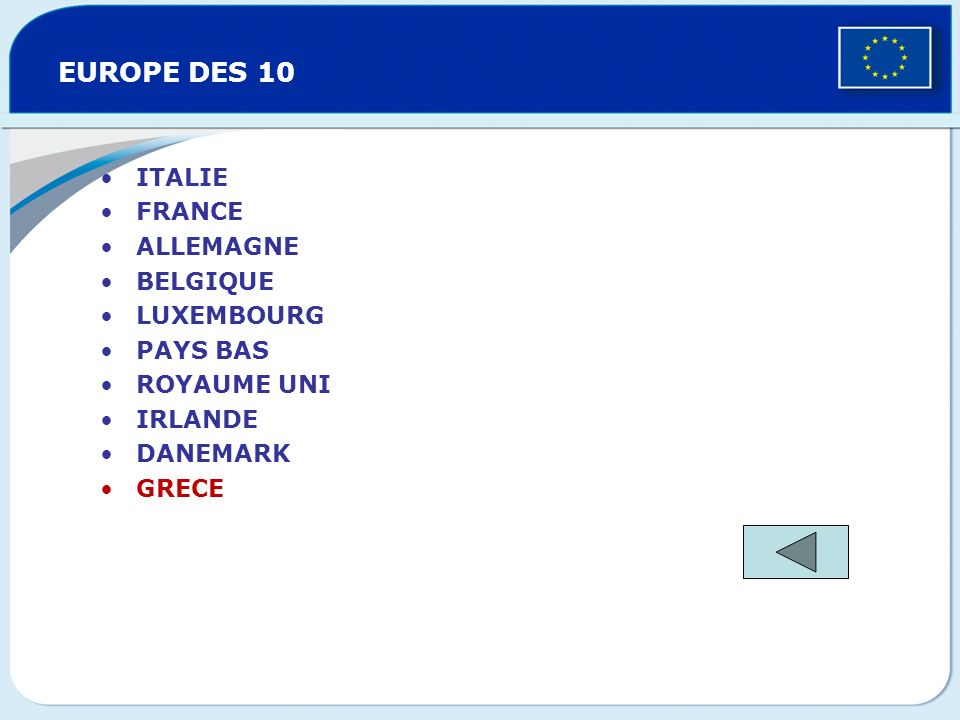 EUROPE DES 10 ITALIE FRANCE ALLEMAGNE BELGIQUE LUXEMBOURG PAYS BAS