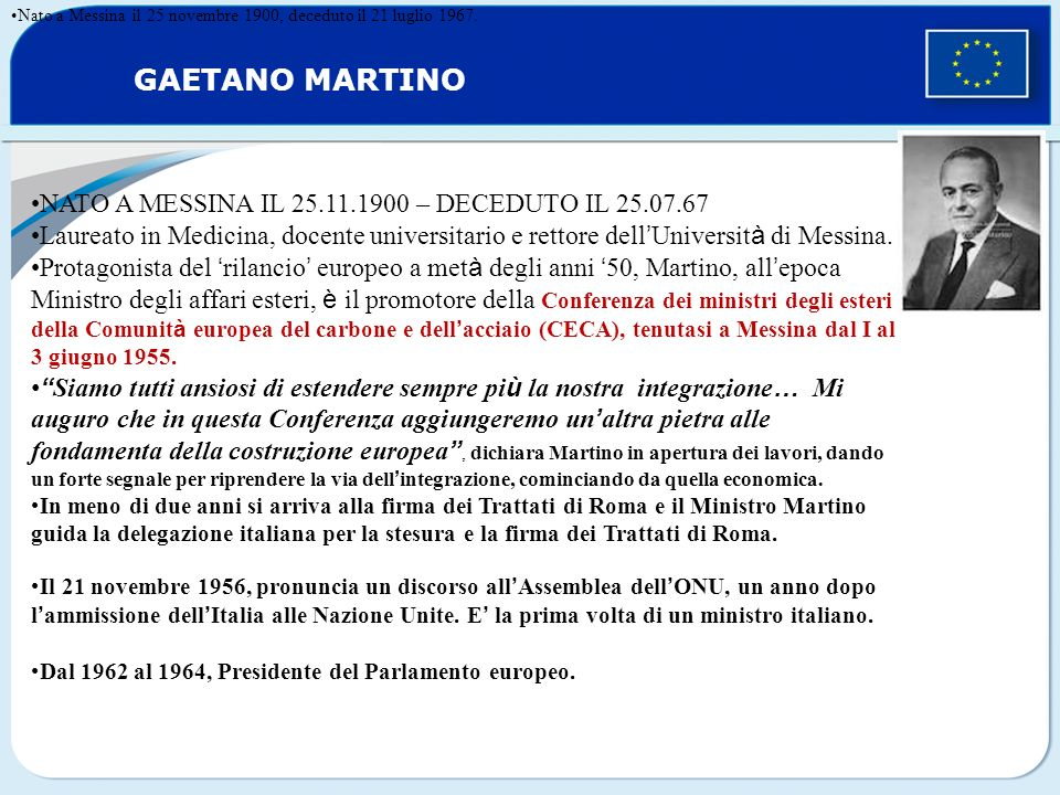 GAETANO MARTINO NATO A MESSINA IL 25.11.1900 – DECEDUTO IL 25.07.67