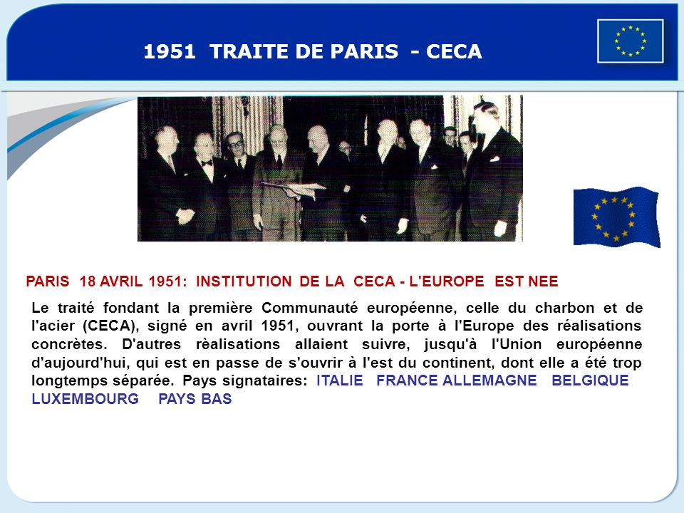 15/12/2011 1951 TRAITE DE PARIS - CECA. L'inno europeo. PARIS 18 AVRIL 1951: INSTITUTION DE LA CECA - L EUROPE EST NEE.