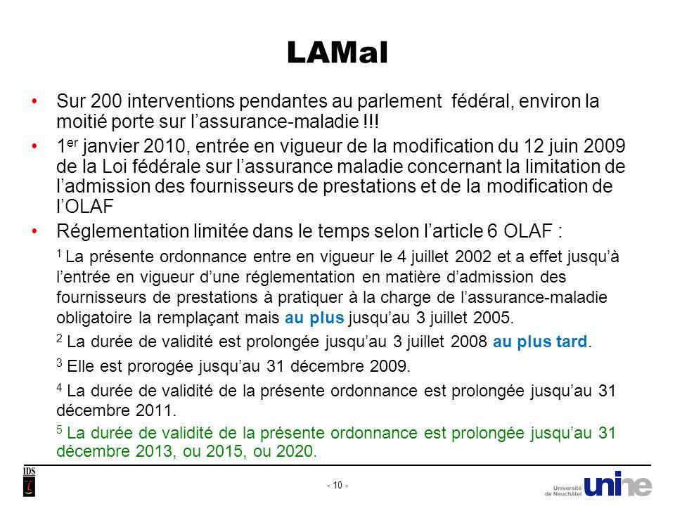 LAMal Sur 200 interventions pendantes au parlement fédéral, environ la moitié porte sur l'assurance-maladie !!!