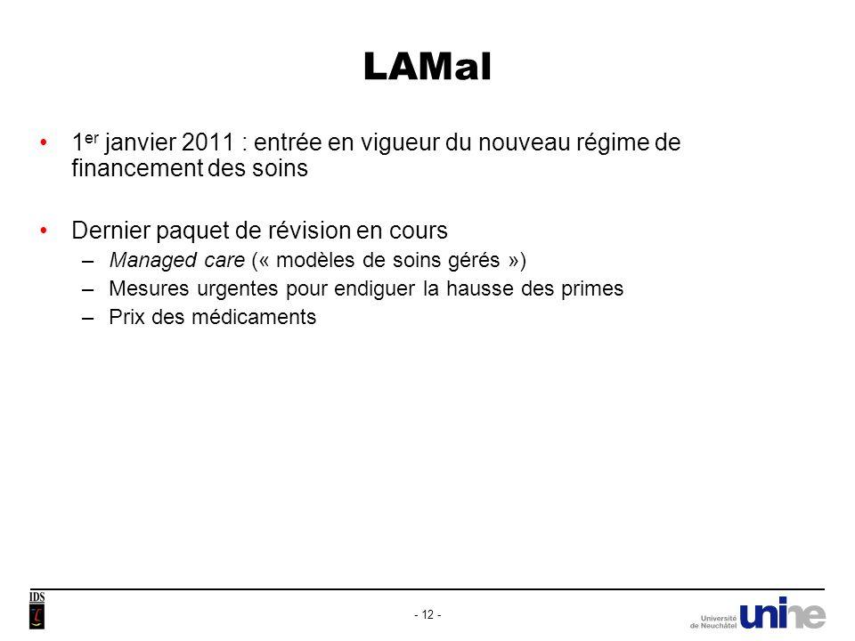 LAMal 1er janvier 2011 : entrée en vigueur du nouveau régime de financement des soins. Dernier paquet de révision en cours.