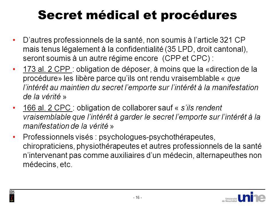 Secret médical et procédures