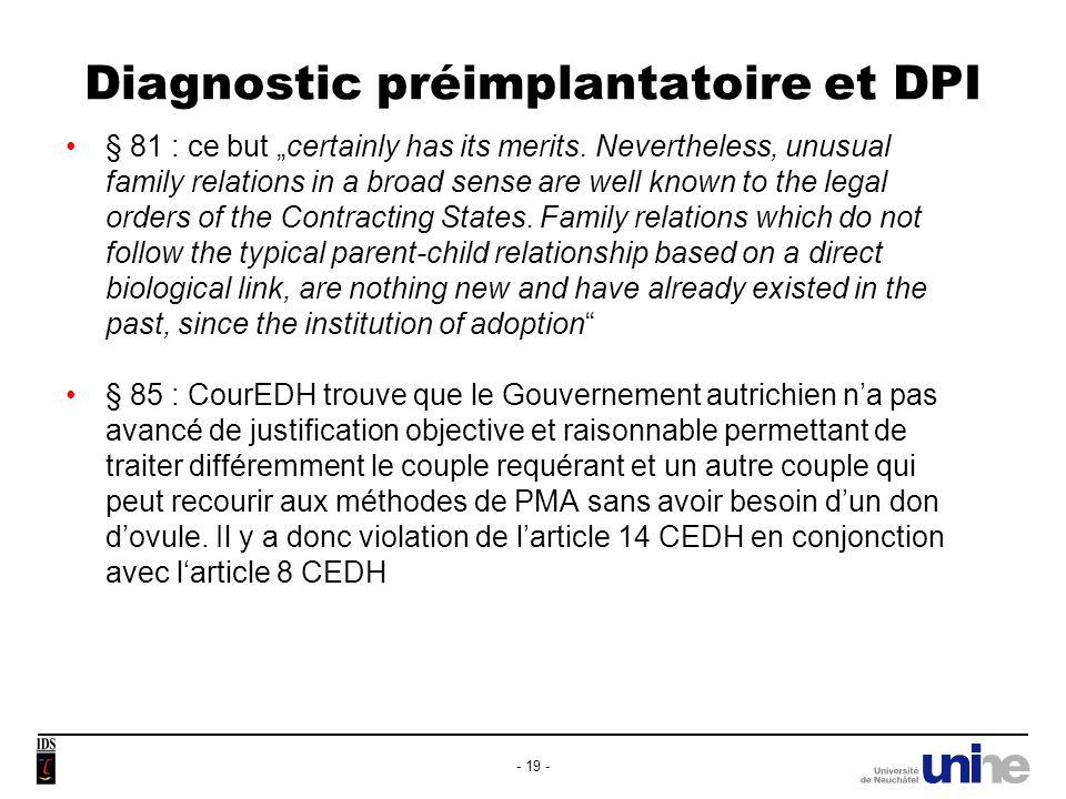 Diagnostic préimplantatoire et DPI
