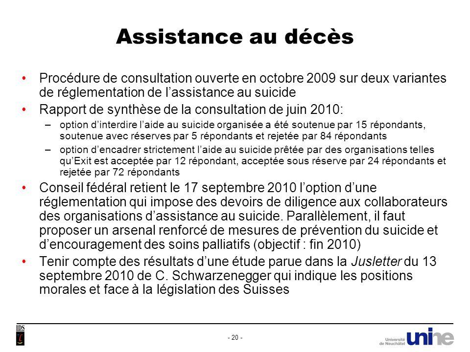 31/03/2017 Assistance au décès. Procédure de consultation ouverte en octobre 2009 sur deux variantes de réglementation de l'assistance au suicide.