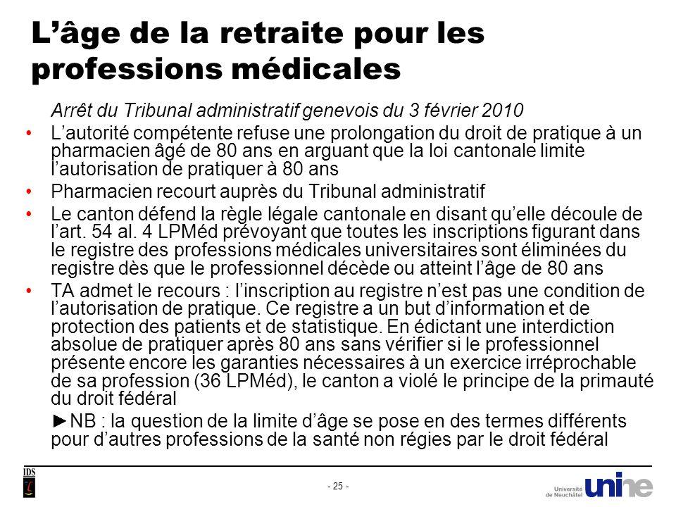L'âge de la retraite pour les professions médicales
