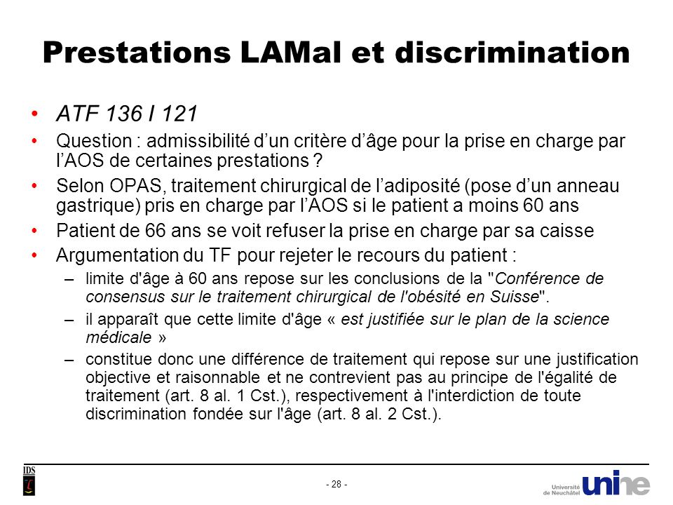 Prestations LAMal et discrimination