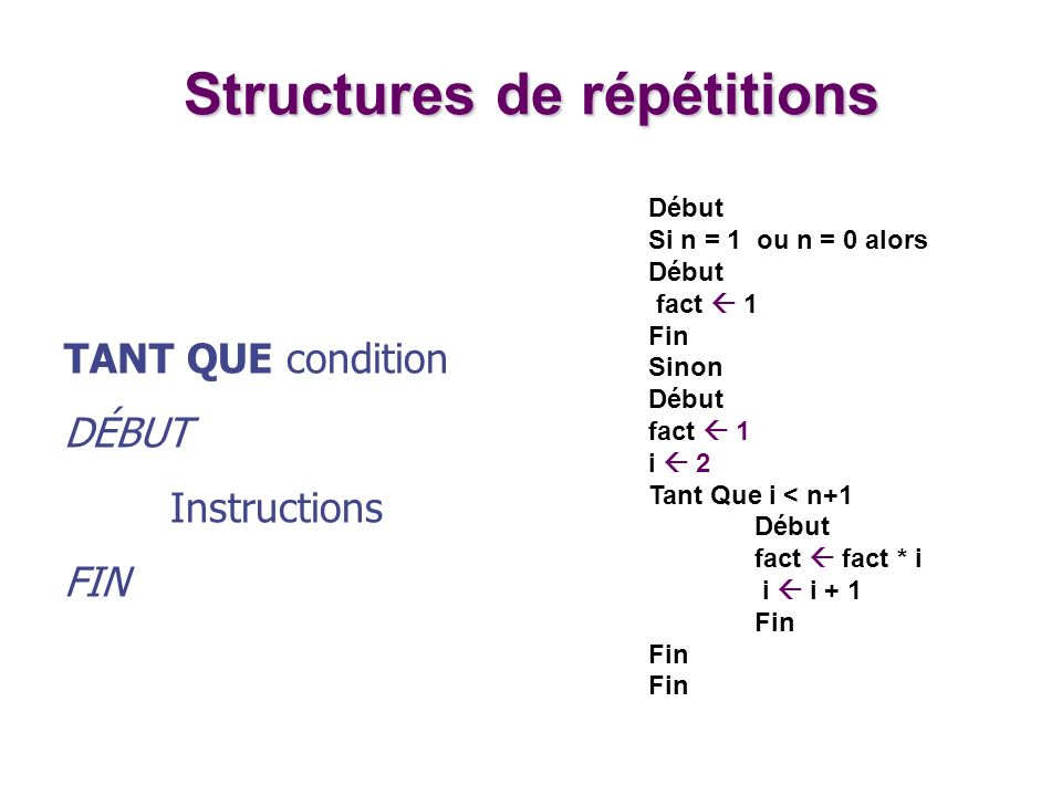 Structures de répétitions