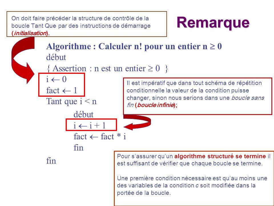 Remarque Algorithme : Calculer n! pour un entier n  0 début