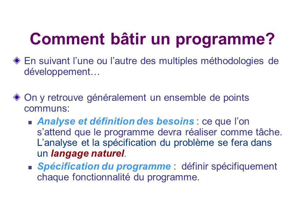 Comment bâtir un programme