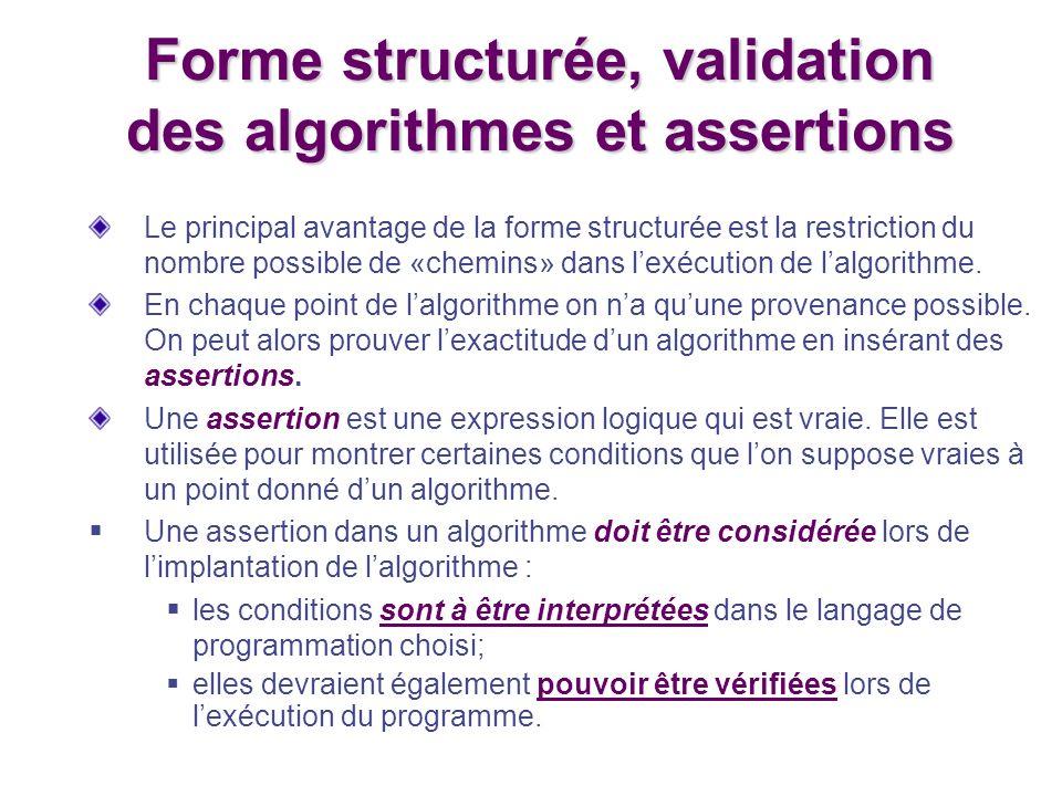 Forme structurée, validation des algorithmes et assertions