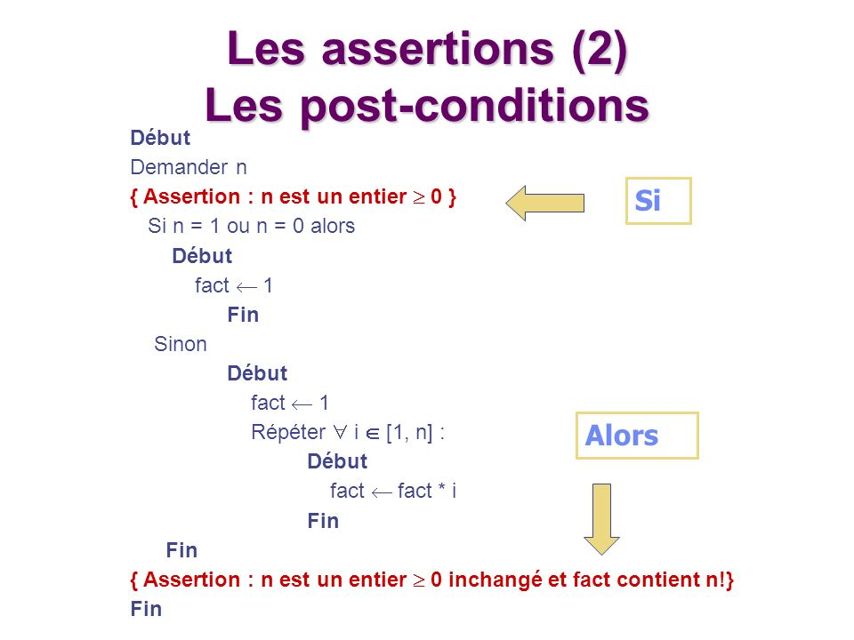 Les assertions (2) Les post-conditions