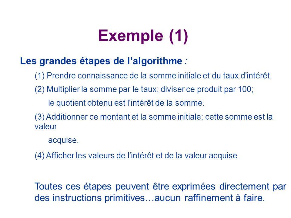 Exemple (1) Les grandes étapes de l algorithme :