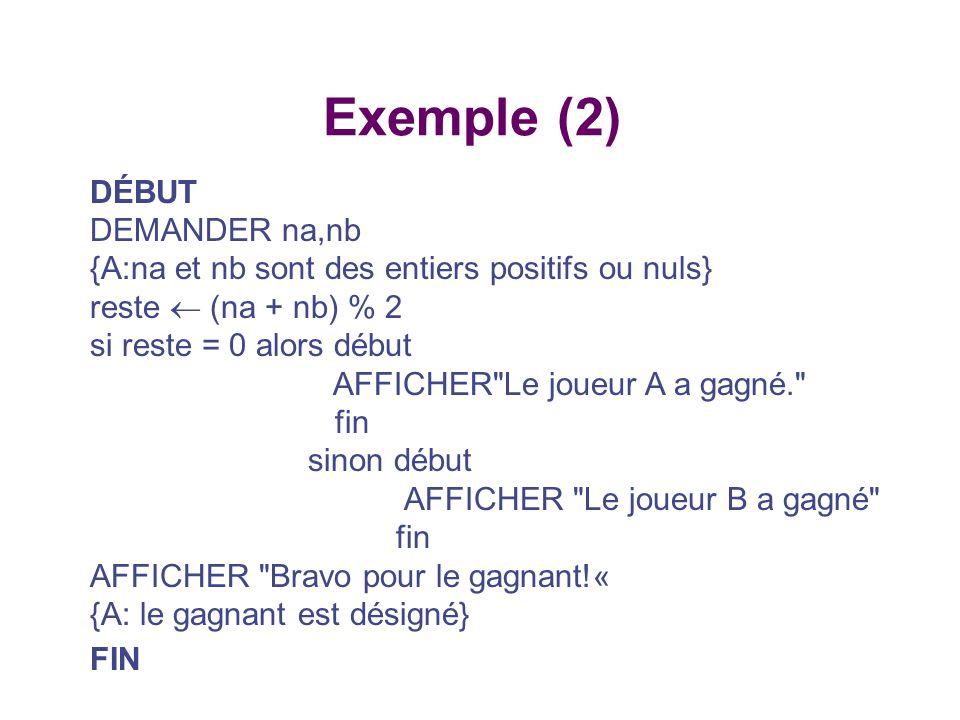 Exemple (2) DÉBUT DEMANDER na,nb