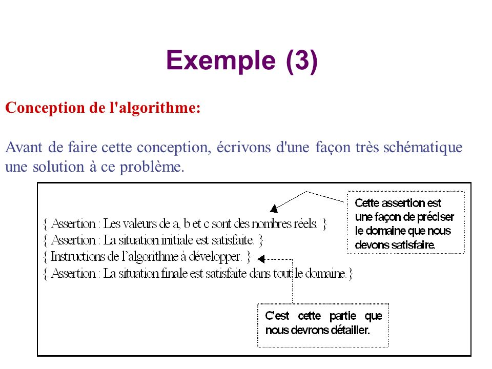 Exemple (3) Conception de l algorithme:
