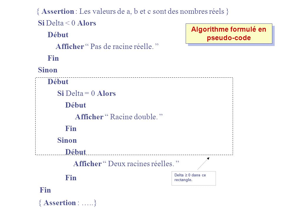 Algorithme formulé en pseudo-code