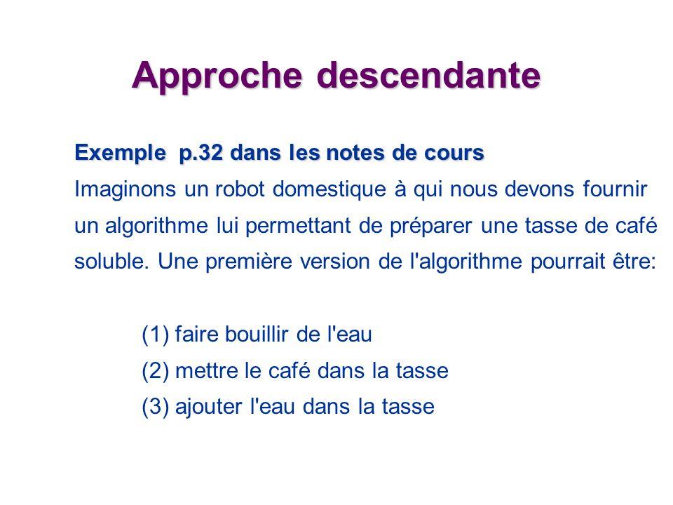 Approche descendante Exemple p.32 dans les notes de cours