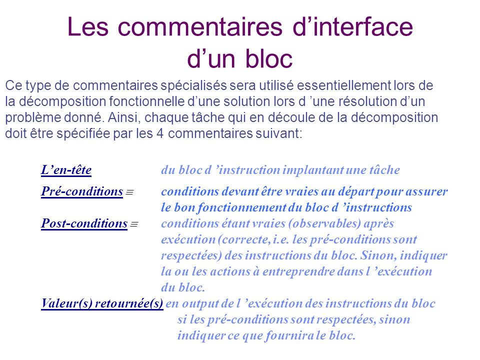 Les commentaires d'interface d'un bloc