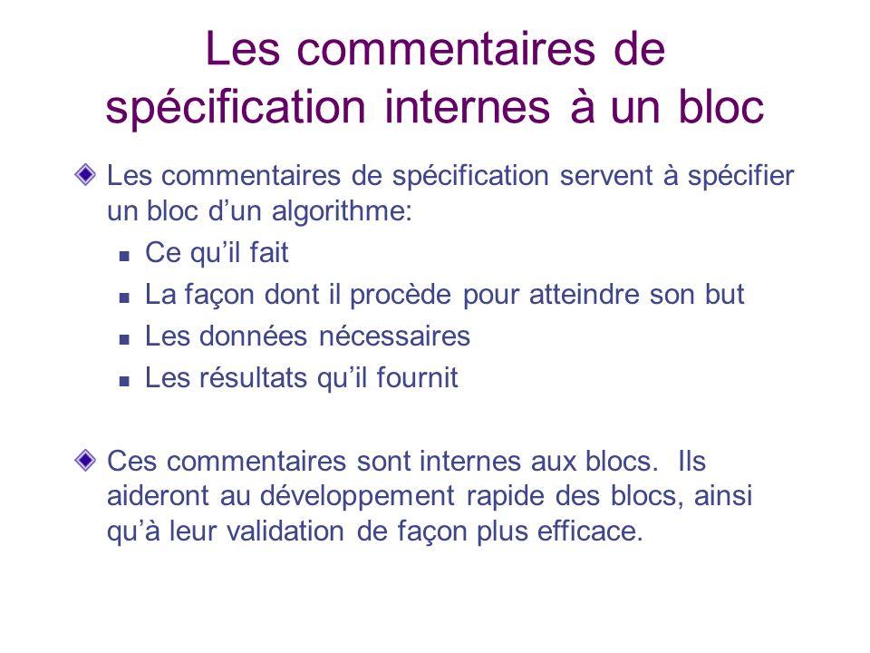 Les commentaires de spécification internes à un bloc