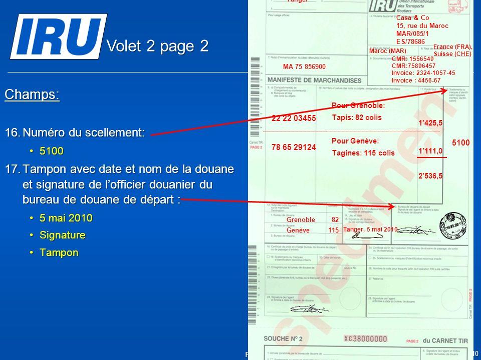 Volet 2 page 2 Champs: Numéro du scellement: