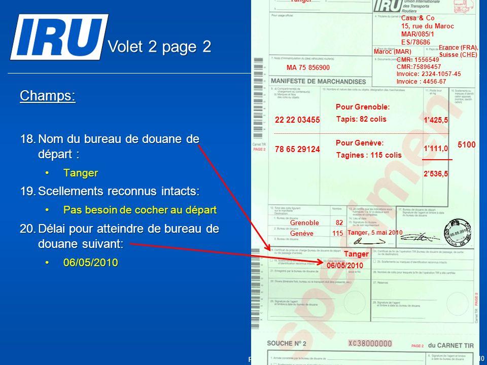 Volet 2 page 2 Champs: Nom du bureau de douane de départ :