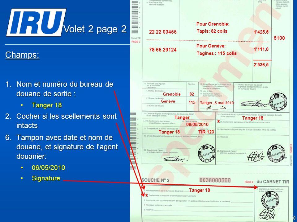 Volet 2 page 2 Champs: Nom et numéro du bureau de douane de sortie :